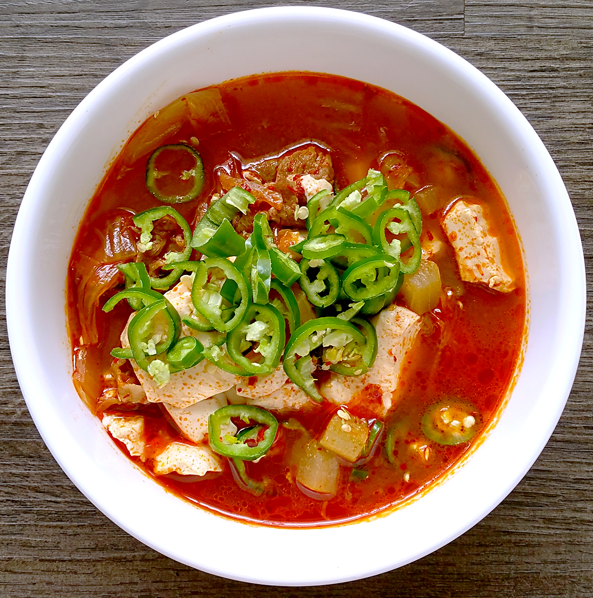 Kimchi noodle soup, pork kimchi, kimchi with beef etc. I can just